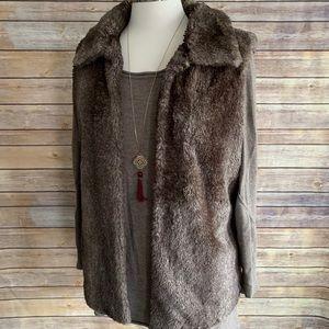 Chico's Size 1 Brown Faux Fur Vest